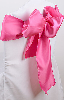 Coral Pink Satin Chair Sashes 6 x 106