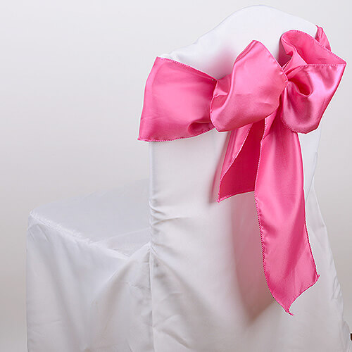 Coral Pink Satin Chair Sashes (Pack of 10)