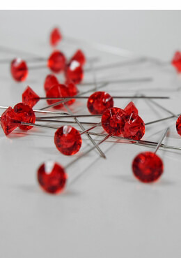 Rhinestone Corsage Pins Red 2in (Pack 100)
