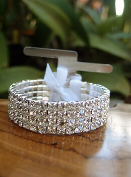 Corsage Bracelet Silver Elastic with Rhinestones