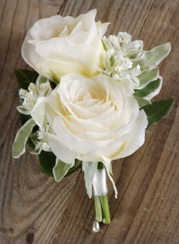 Silk Flower White Rose Corsage