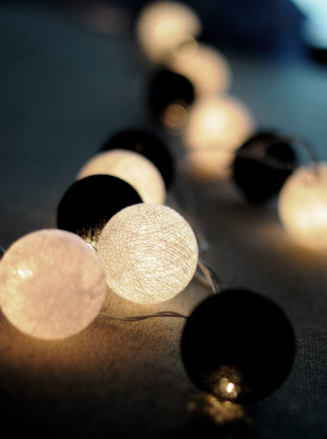 black white cotton ball string lights 20ct 8 ft. Black Bedroom Furniture Sets. Home Design Ideas