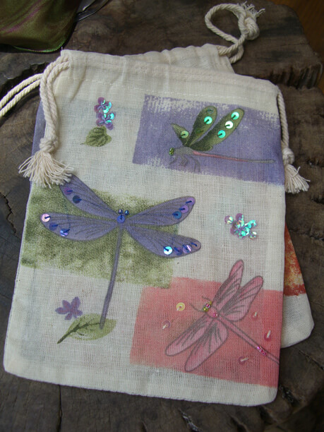 "Cotton Muslin Favor Bags 7"" Dragonfly Design (12 bags)"