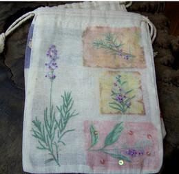 """Cotton Muslin Favor Bags 7"""" Lavender Design (12 bags)"""
