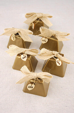 "6 Tiny 2"" Metal Cowbells & Burlap Bows, Wedding Supplies, Country Charm Cowbell Kissing Bell, Aspen Brands"