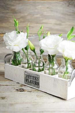 "Milk Bottles & Wood Crate Petites Fleur 12"", 5 Bottles"