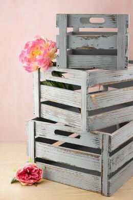 Grey Pallet Crates Set of 3