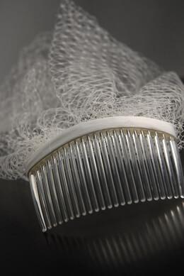 Cream White Bird Cage Veiling Fabric Covered Plastic Comb