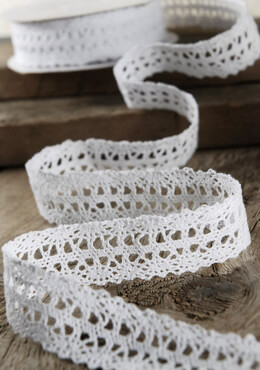 "White 1"" Wide Cotton Lace Ribbon (10yds)"