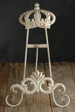 Crown Table Easel (15 x 9) Cream White Metal
