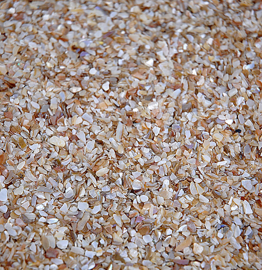 75 lbs. (793 g) of finely crushed seashells A mix of fine pieces ...