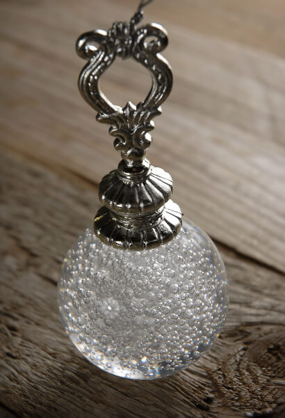 Crystal Ball with Silver Hanger