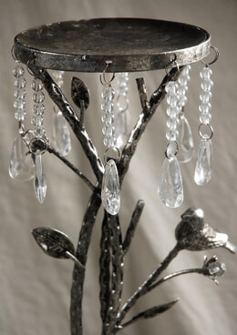 Crystal & Bird Metal Pillar 34 in. Pillar Candle Holder