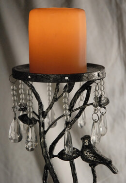 Branch Pillar Candle Holder with Crystals