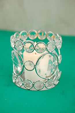 Crystal Candle Holder Round 3in