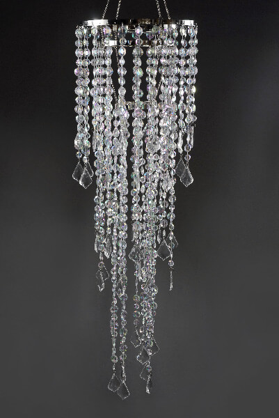 Plug In Chandelier with Acrylic Crystals 34in