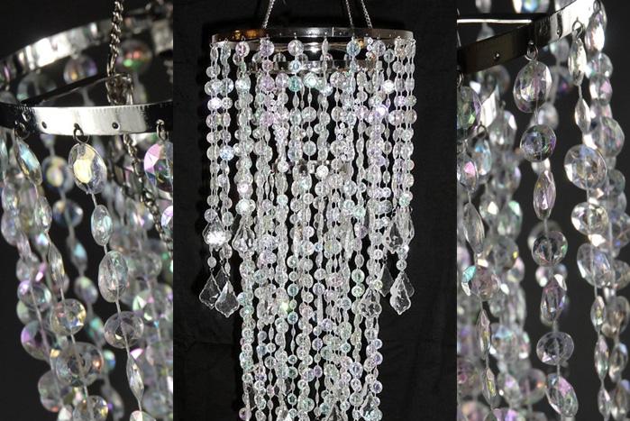 Crystal Decorative 3 Tier Chandelier 34in  Plug In