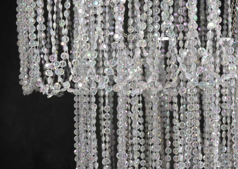 "Four Tier 77"" Crystal Chandelier  Plug in"