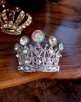 "Crystal Clear Silver Crown 2.5"" Pin"