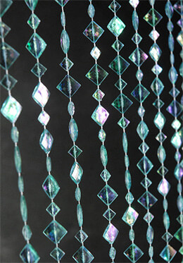 Aqua Blue Crystal Curtain Iridescent 3' x 6'