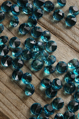 Crystal Diamond Cut Accents Teal 10mm (85 pieces)