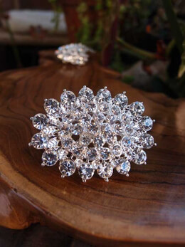Round Crystal Brooch 2in