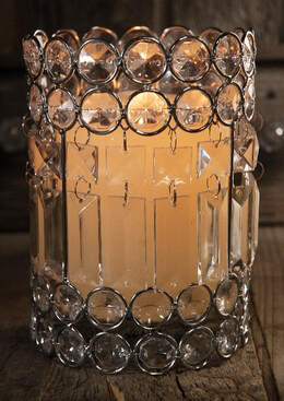 "Crystal 7"" Glass Candle Holders"