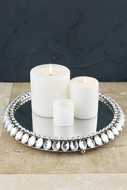 Round Crystal Framed Mirror Pillar Candle Holder 12.5in