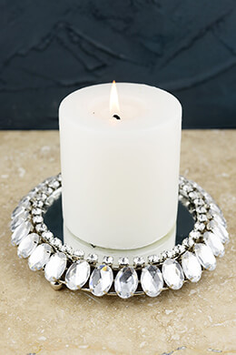 Crystal Framed Mirror Candle Holder 8""