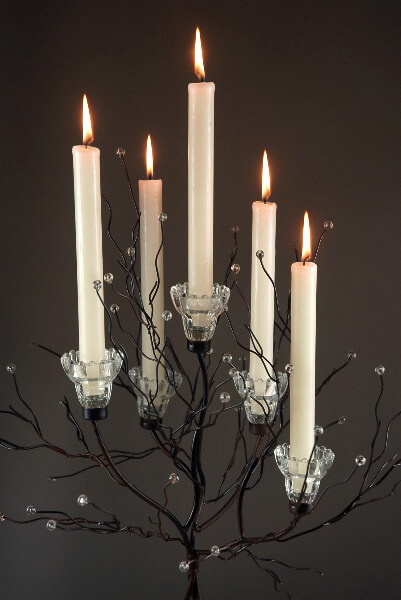 Set of Two Crystal Tree Candle Holders 32""