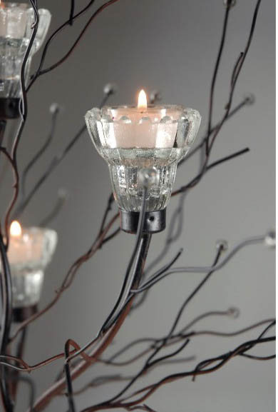 """Set of Two Crystal Candle Tree Candle Holders 32"""""""