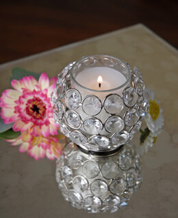 "Crystal Votive Holder Round 2.6"" x 3.25"""