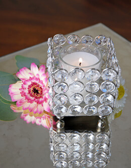 Crystal Votive Holder Square 3in