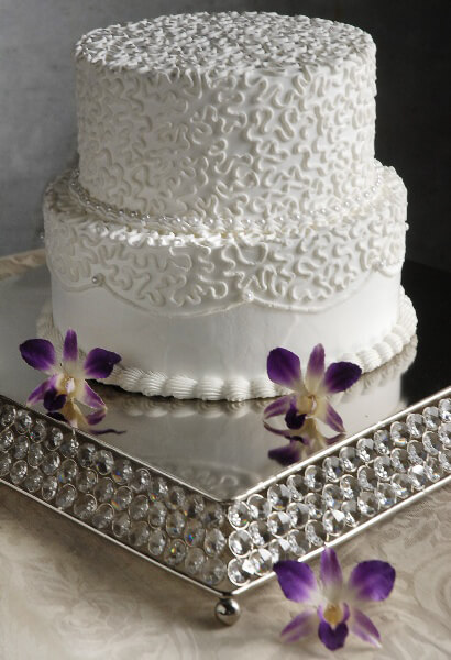 Square Crystal & Stainless Cake Stand 14 x 14