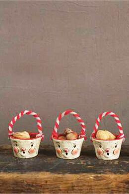 """6 Paper Pulp 3"""" Nut Cups w/ Snowman Faces"""