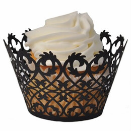 Filigree Cupcake Wrappers Black (Pack of 50)