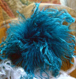 "Curly Ostrich Teal Blue 5"" Feather Flower"