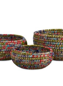 """3 Handmade Woven Sea Grass Baskets 12"""" 15"""" & 19"""""""