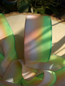 Silk Ribbon Dyed Pink, Peach & Green 1.5in x 38yds