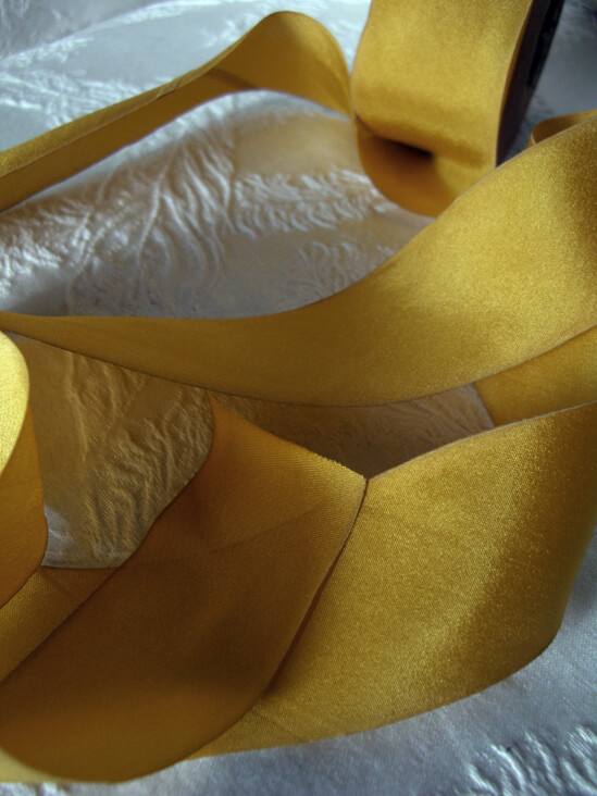 "Zoom Yellow 1.5"" Custom Dyed 100% Silk Ribbon 38 yds, Earth Silk"