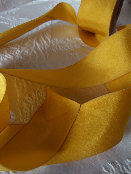 Custom Dyed 100% Silk Ribbon Maze Yellow 1.5in x38 yds