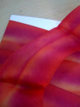 "Custom Dyed Silk Ribbon Magenta Red & Orange 1.5"" width 3 yards"