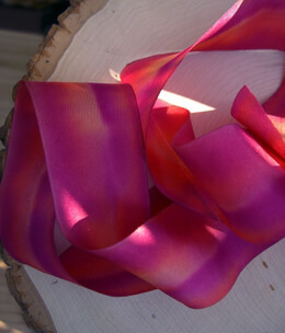 "Custom Dyed Silk Ribbon Red & Orange 1.5"" width 38 yards"