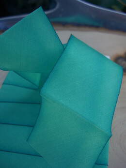 "Custom Dyed Silk Ribbon Turquoise 1.5"" width 3 yards"