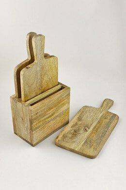 Luca Cutting Boards with Gift Box- Set of 3, Mango Wood