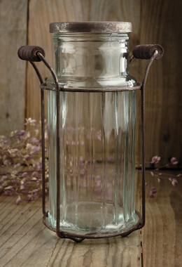 Glass Vase with Flower Lid 7.5""