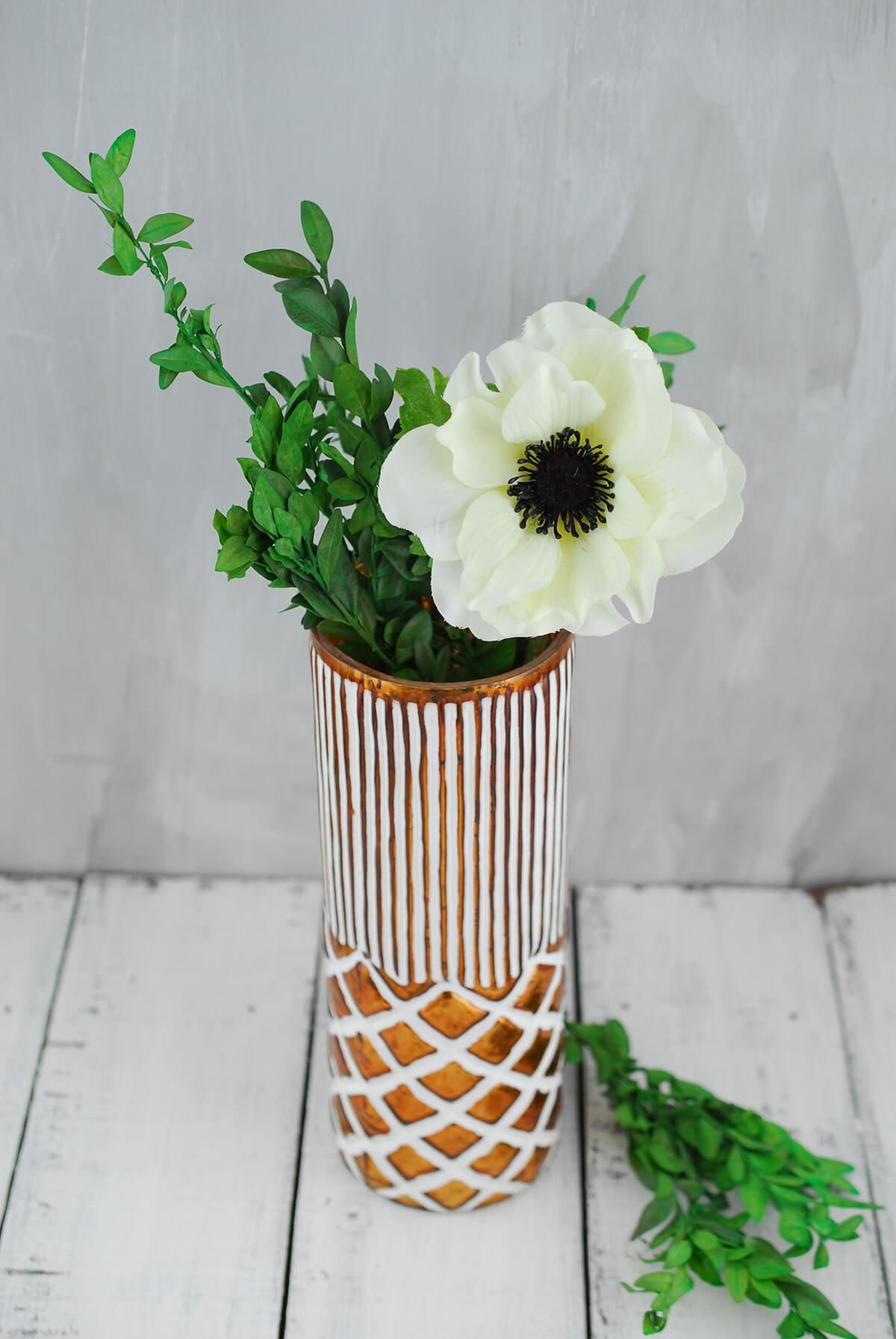 Boho Vase 9 Inch Copper & White Ceramic