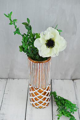 Boho Copper & White Ceramic Vase 9""