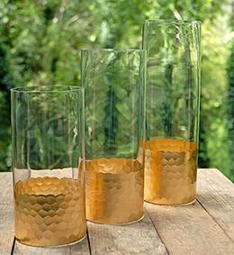 "Gold Honeycomb Cylinder Vase 10"" x 4"""
