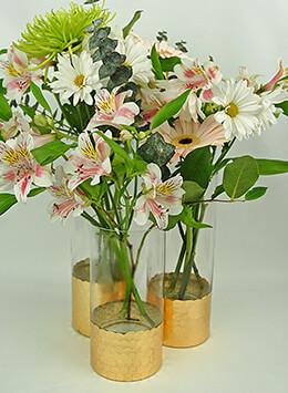 "Gold Honeycomb Cylinder Vase 12"" x 4"""